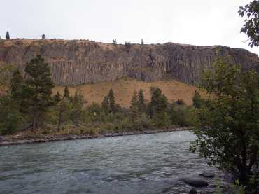 Basalt columns overlooking the Naches River as seen from our camp.