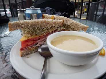 Ham sandwich and potato-leek soup at Willow Street Cafe, Chemainus