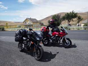 Our bikes on the road in nowhere OR.