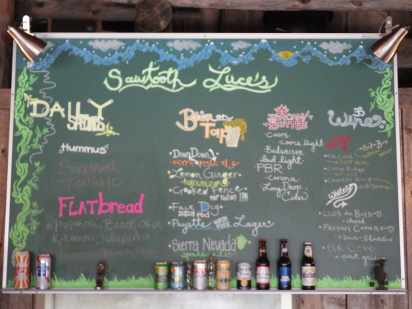 Sawtooth Sally's menu board in Stanley, ID.