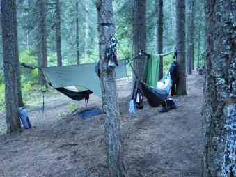 The camp at Swinging Bridge, ID.