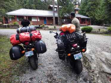 The whole camp on two bikes, packed and ready to leave