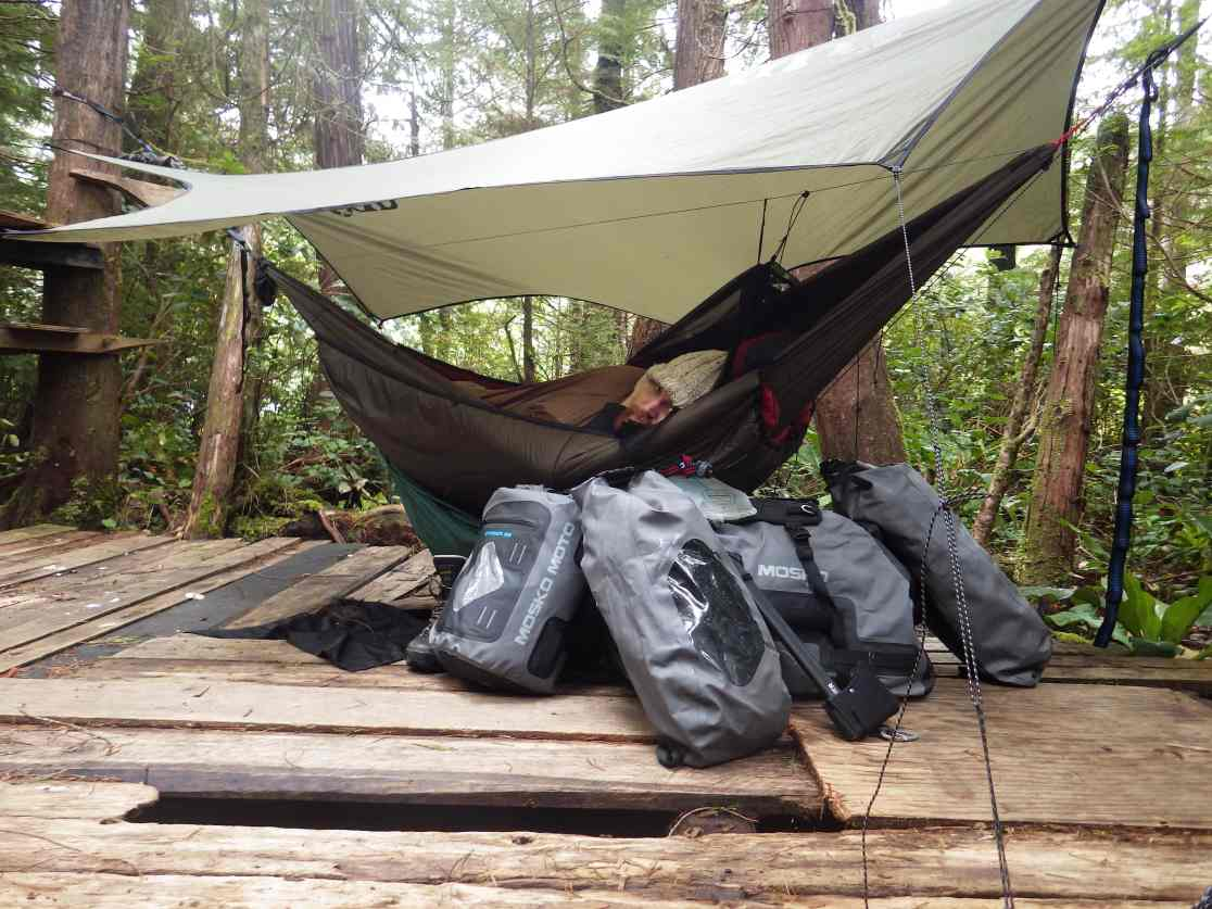 Hanging at Poole's Land with my Mosko dry bags. This photo makes it look better than it is.