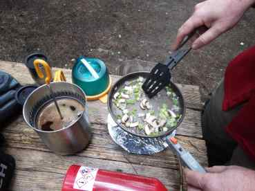 Sauteed leek, mushrooms, and shallots