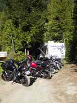 The bikes lined up at the Rising Sun trailer
