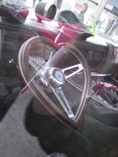 Heart shaped steering wheel on a van in the pits